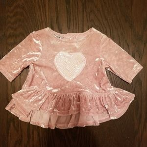 Baby girl blush pink velvet top